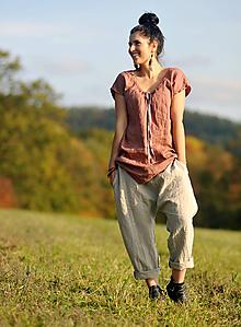 Nohavice - Lněné turky režné - 11271059_