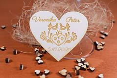 Darčeky pre svadobčanov - Drevená svadobná magnetka Ľudový motív 28 - 11268341_