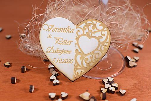 Drevená svadobná magnetka Ľudový motív 26