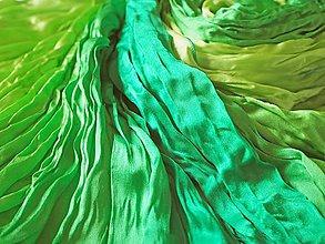 Šály - Bright green Satin Silk Ombre - 11269145_