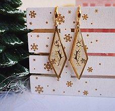 Náušnice - Vianočné náušnice visiace bielo-zlaté, striebro Ag - 11270188_