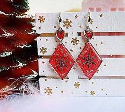 Náušnice - Vianočné náušnice visiace červeno-strieborné, striebro Ag - 11270243_