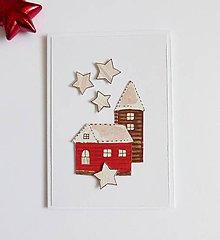 Papiernictvo - Vianočná pohľadnica, domčeky - 11273489_