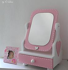 Zrkadlá - Rozprávkové 50 cm veľké zrkadlo - Srdiečko ružové - 11272038_