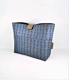 Taštičky - Organizér do kabelky modrý s ružičkami - 11272590_