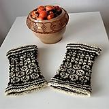 Rukavice - Zápästky tradičný vzor Novohradu -ručne pradená farmárska vlna - 11274179_