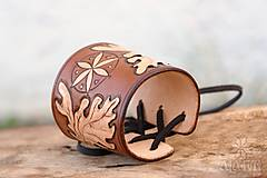 Šperky - Kožený náramok - nátepník Dubový - 11273194_