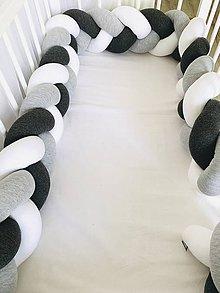 Textil - Detský mantinel pletený biela -šedý melir- antracit - 11273607_