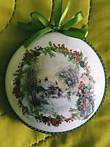 Dekorácie - Vianočné medailóny - Zimná krajina II. - 11273003_