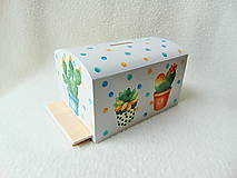 Krabičky - Drevená pokladnička Kaktusy - 11272545_