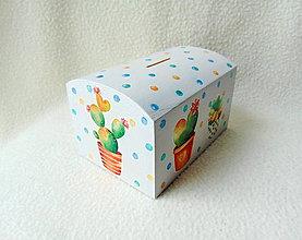 Krabičky - Drevená pokladnička Kaktusy - 11272531_