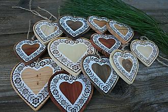 """Dekorácie - vianočná drevená dekorácia""""srdce sada"""" - 11273800_"""