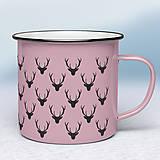 Nádoby - Ružový smaltovaný hrnček - 11271688_