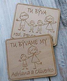 """Tabuľky - Tabuľka na dvere """"TU BÝVAME MY"""" (mamka so synom) - 11272630_"""