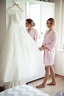 Pyžamy a župany - Luxusný svadobný župan Afrodita -č.5 svetlo ružový - 11273616_