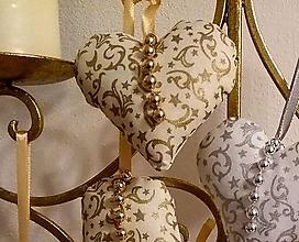 Dekorácie - Vianočné ozdoby (SRDIEČKO Zlatý vzor MIX) - 11273858_