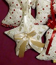 Dekorácie - Vianočné ozdoby (HVIEZDIČKA veľká Zlatý vzor MIX) - 11273954_