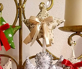Dekorácie - Vianočné ozdoby (HVIEZDIČKA malá Zlatý vzor MIX) - 11273962_