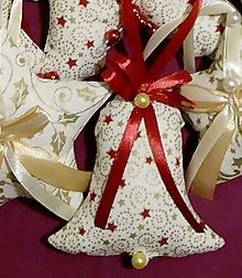 Dekorácie - Vianočné ozdoby (ZVONČEK veľký Zlatočervený vzor MIX) - 11274189_