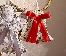 Dekorácie - Vianočné ozdoby (ZVONČEK malý Zlatočervený vzor MIX) - 11274203_