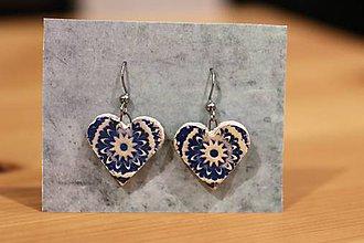 Náušnice - Blue hearts - 11273674_