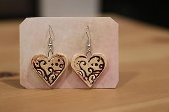 Náušnice - Brown hearts 2 - 11273784_