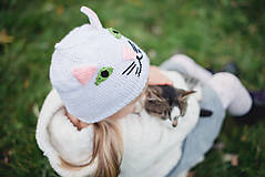 Detské súpravy - Mňau set- čiapka a šál - 11273051_