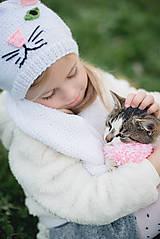 Detské súpravy - Mňau set- čiapka a šál - 11273054_