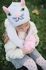 Detské súpravy - Mňau set- čiapka a šál - 11273055_