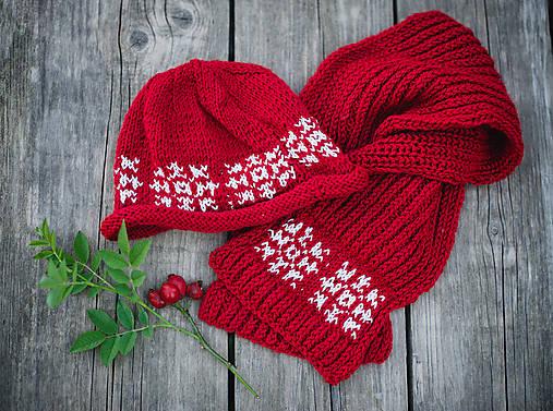 Červená karkulička- Set čiapka a šál