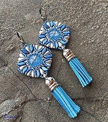 Náušnice - Nežné modro-sivé náušnice so strapčekom - 11274579_