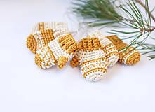 Dekorácie - Zlatožlté rukavičky - SET (Vianočné ozdoby) - 11271665_