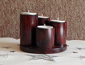 Svietidlá a sviečky - adventný svietnik  (Bordová) - 11274333_