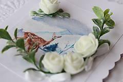 Papiernictvo - Zimná 3D pohľadnica-srnky - 11273549_