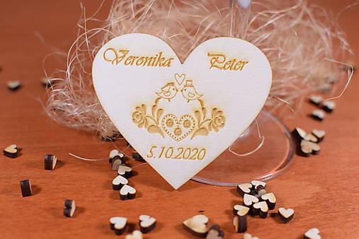 Drevená svadobná magnetka Ľudový motív 30