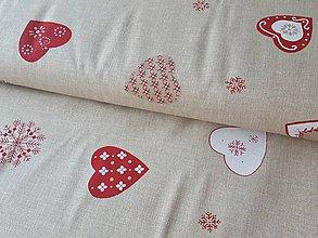 Textil - perníčkové srdiečka na režnom - 11271780_