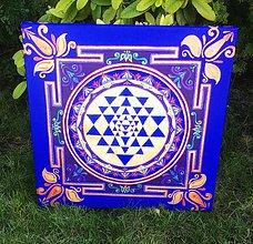 Obrazy - Sri Yantra mandala obraz na plátne - modrá - 11274885_