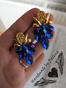 Náušnice - Modro zlaté napichovačky - 11278211_
