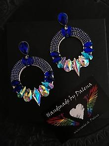 Náušnice - Luxusné modré kruhy - 11278621_