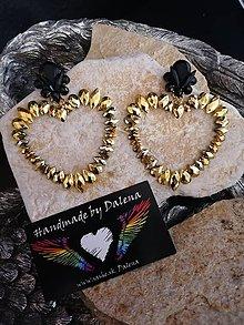 Náušnice - Veľké zlaté srdcia - 11278711_