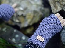 Rukavice - Bezprstové rukavice s alpakou: sivofialová - 11277880_