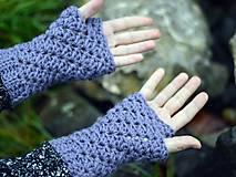 Rukavice - Bezprstové rukavice s alpakou: sivofialová - 11277881_