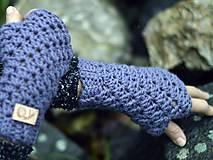 Rukavice - Bezprstové rukavice s alpakou: sivofialová - 11277882_