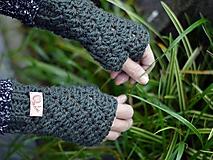 Rukavice - Bezprstové rukavice s alpakou: tmavozelené - 11277888_