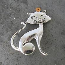 Odznaky/Brošne - Brošňa strieborná mačka, mačacie brošňa - 11278624_
