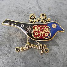 Odznaky/Brošne - Pestrofarebný VTÁČIK, z hodiniek, steampunk, BROŽ VI. - 11278712_