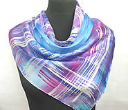 Šatky - Kockovaný hedvábný šátek. - 11276176_