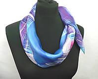 Šatky - Kockovaný hedvábný šátek. - 11276186_