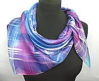 Šatky - Kockovaný hedvábný šátek. - 11276189_