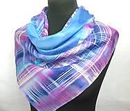 Šatky - Kockovaný hedvábný šátek. - 11276192_